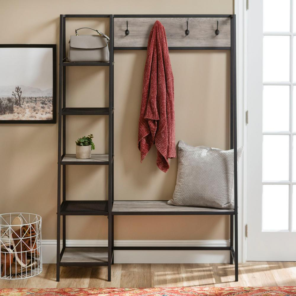 72 in. Grey Angled Side Hall Tree with Storage