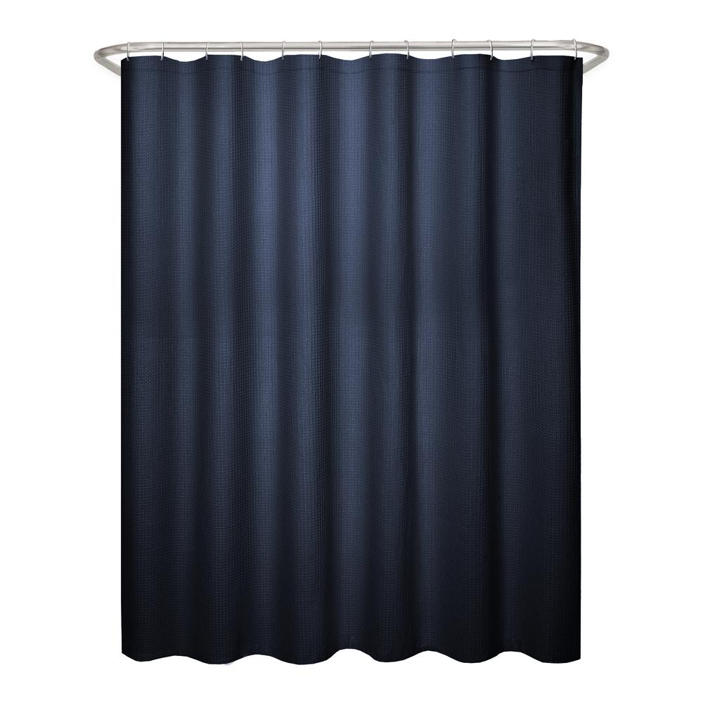 Maytex 70 in. x 72 in. Textured Waffle Fabric Navy Shower Curtain