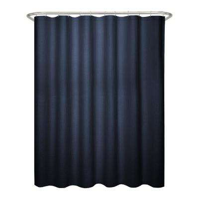 70 in. x 72 in. Textured Waffle Fabric Navy Shower Curtain