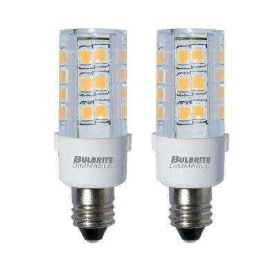 35-Watt Equivalent T4 Dimmable Mini-Candelabra LED Light Bulb Soft White (2-Pack)