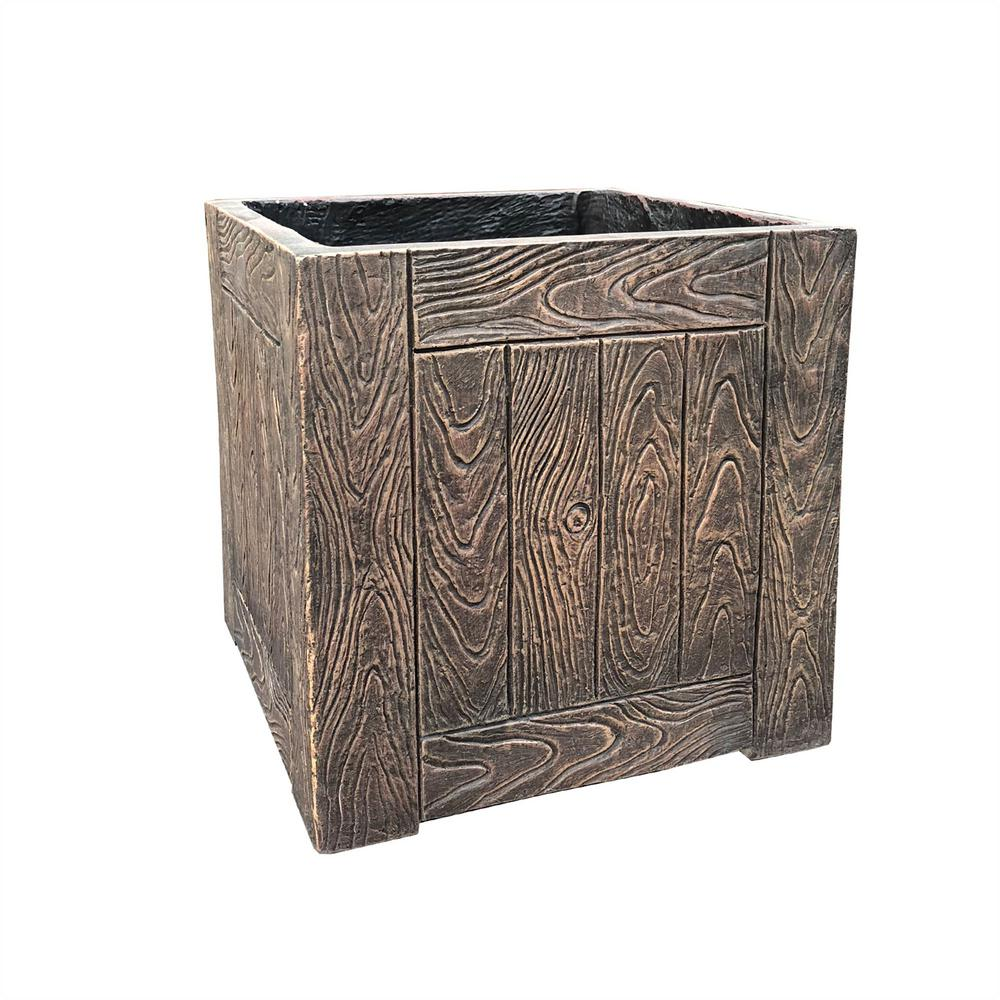 KANTE 10.2 in. Tall Red Mahogany Lightweight Concrete Faux Wood Square Planter