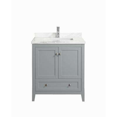 Lime 36 in. W x 22 in. D x 34.50 in. H Vanity in Gray with Jazz Marble Vanity Top in White with White Basin