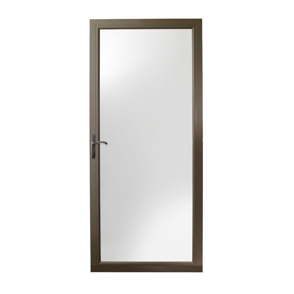 36 in. x 80 in. 3000 Series Terratone Left-Hand Fullview Easy Install Storm Door with Oil-Rubbed Bronze Hardware