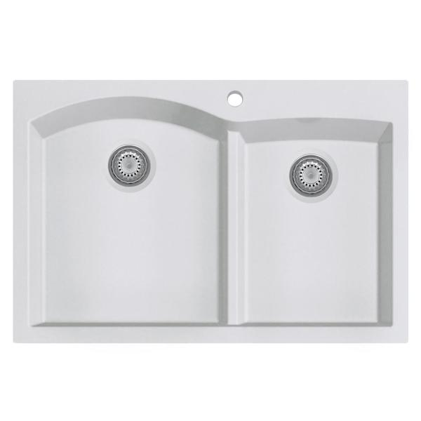 Drop-In Granite Composite 33 in. 1-Hole 35/65 Double Bowl Kitchen Sink in White
