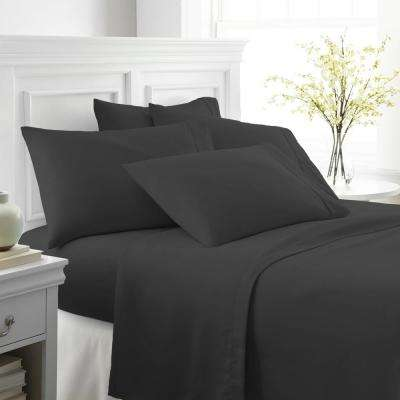 Performance Black Full 6-Piece Bed Sheet Set