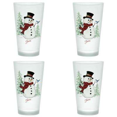 16 oz. Snowman Frosted Cooler (Set of 4)