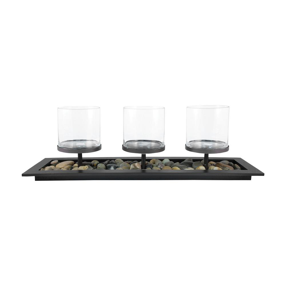 City 10 in. x 32 in. Rustic metal and Clear glass Centerp...