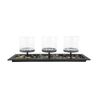 City 10 in. x 32 in. Rustic metal and Clear glass Centerpiece Candle Holder