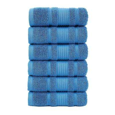 Pure Turkish Cotton Collection 16 in. W x 30 in. H Luxury Hand Towel in Blue (Set of 6)