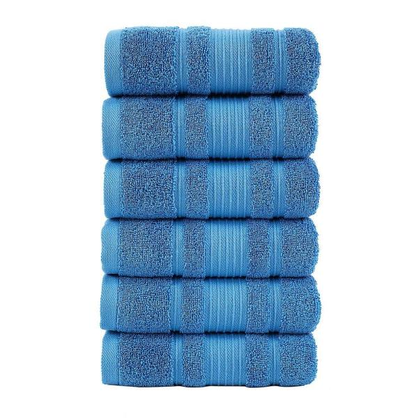 Ottomanson Pure Turkish Cotton Collection 16 in. W x 30 in. H Luxury Hand Towel in Blue (Set of 6)