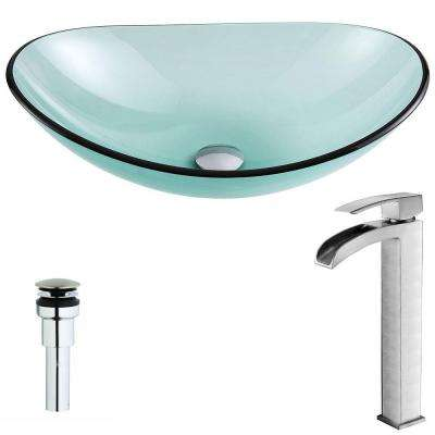 Major Series Deco-Glass Vessel Sink in Lustrous Green with Key Faucet in Brushed Nickel