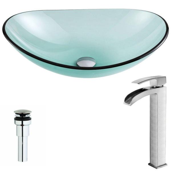 ANZZI Major Series Deco-Glass Vessel Sink in Lustrous Green with Key Faucet in Brushed Nickel