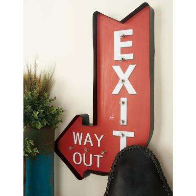 "16 in. x 26 in. Pop Arts Iron ""Exit Way Out"" LED Wall Sign"