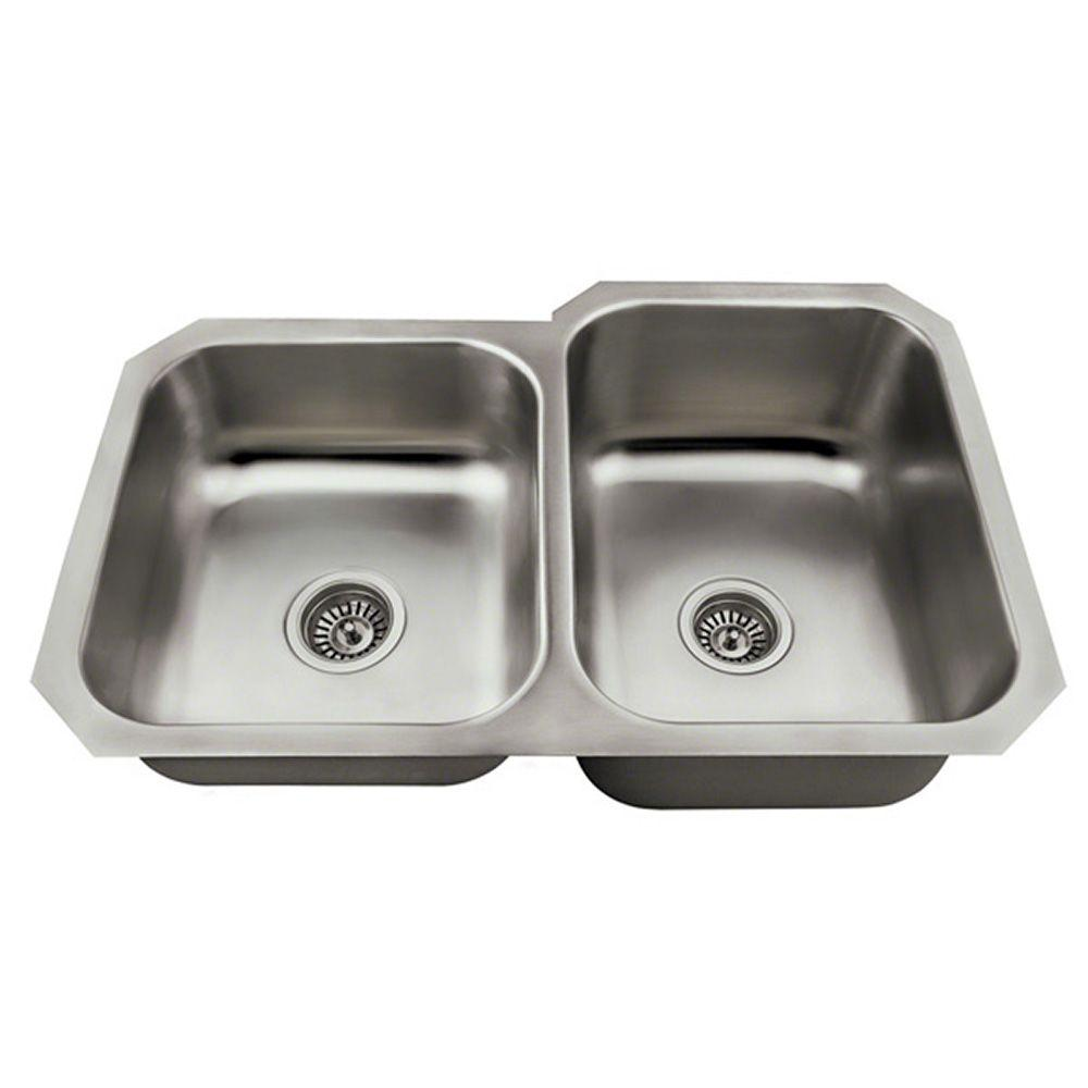 MR Direct Undermount Stainless Steel 32 in. Double Bowl Kitchen ...