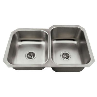 Polaris Sinks Undermount Stainless Steel 32 In Double Bowl Kitchen Sink Kit Pr3501us Ens The Home Depot