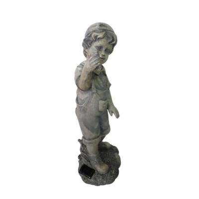 18 in. Boy with Cell Phone Solar Powered LED Lighted Statue
