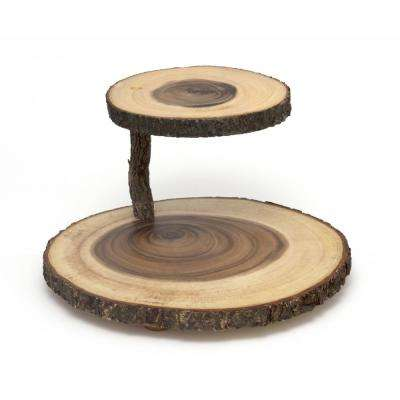Lipper Two Tier Acacia Cheese Server with Bark Post