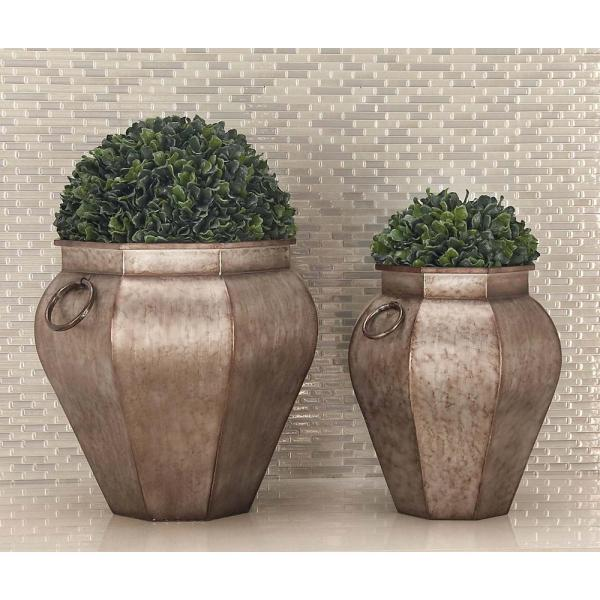 Litton Lane 18 in. x 18 in. Rustic Iron Gray Urn-Shaped Planters (Set of 2)