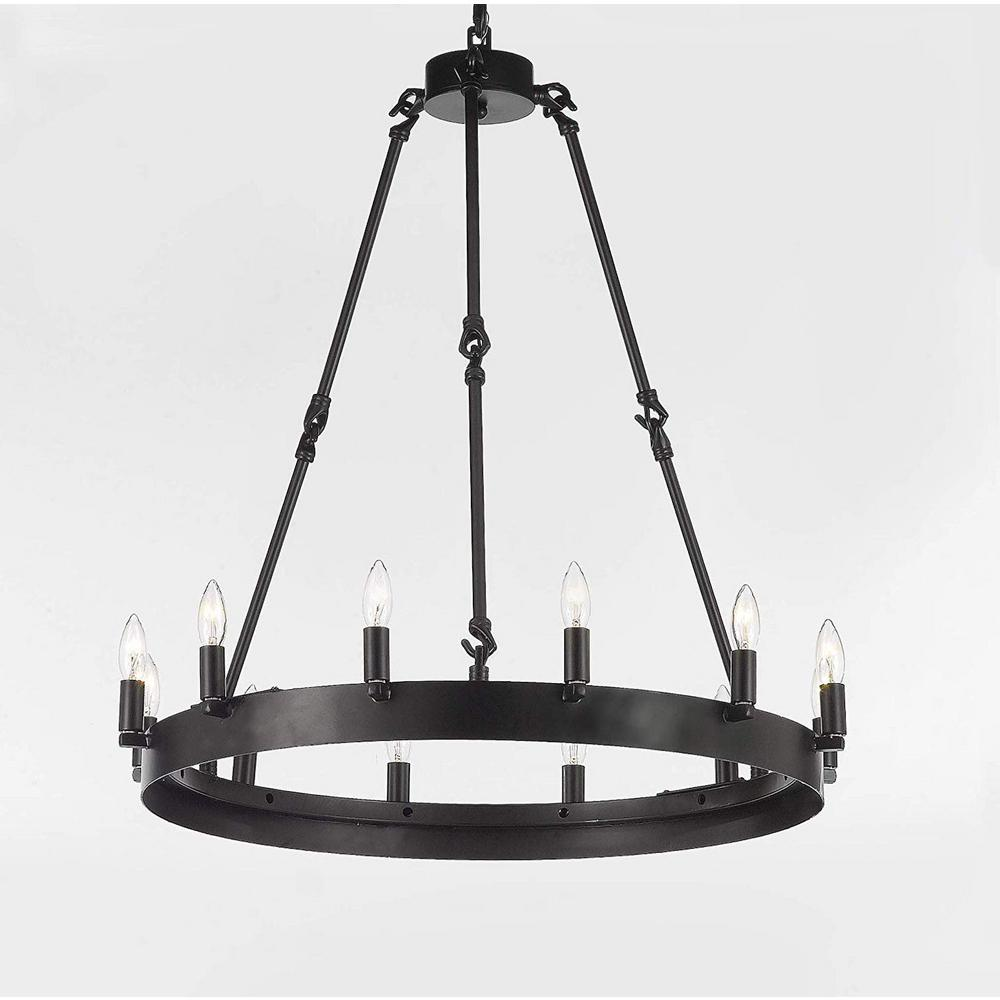 Harrison lane vintage barn metal 12 light dark brown castile industrial rustic chandelier