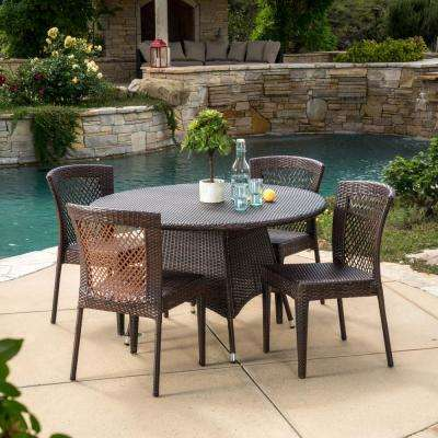 Ernesto Multi-Brown 5-Piece Wicker Round Outdoor Dining Set with Stacking Chairs