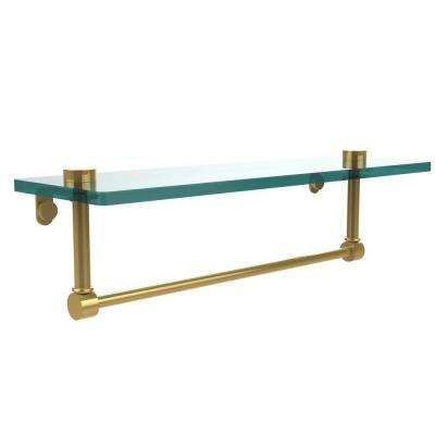 16 in. L  x 5 in. H  x 5 in. W Clear Glass Vanity Bathroom Shelf with Towel Bar in Polished Brass