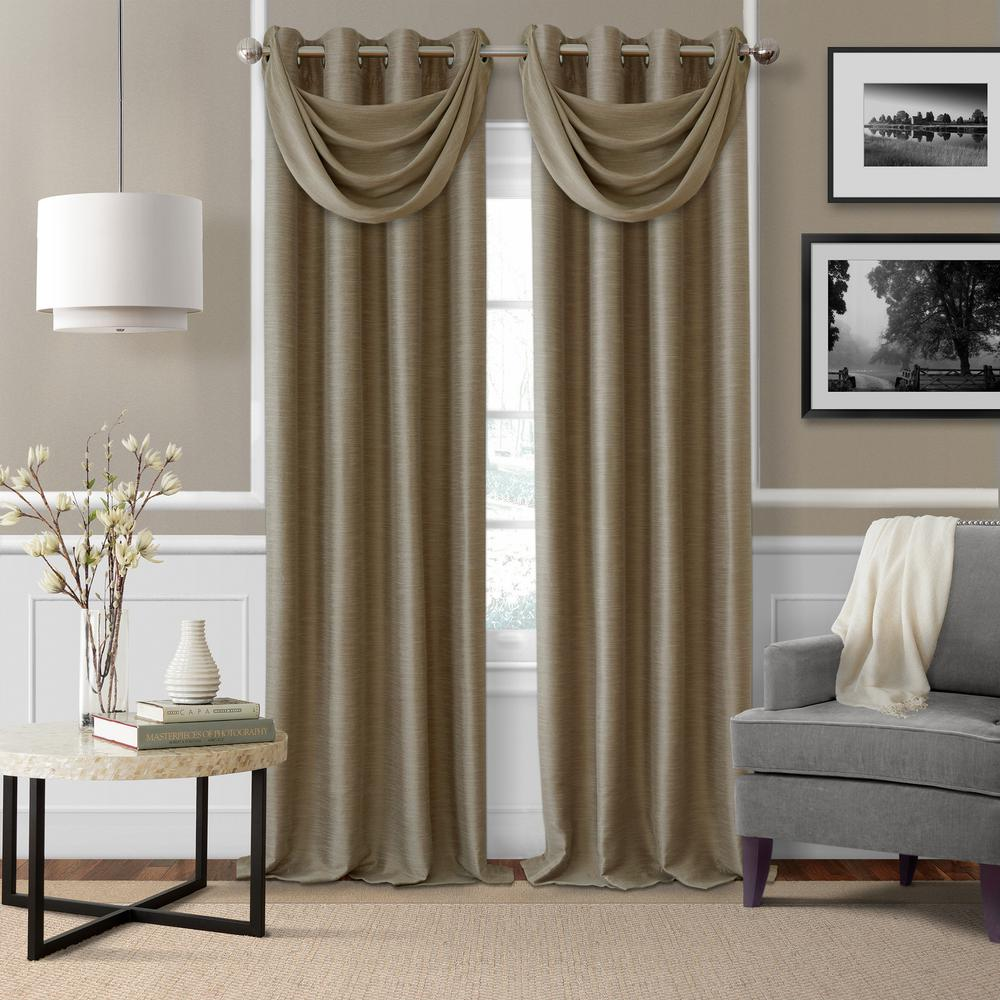 Brooke Taupe Polyester Single Blackout Window Curtain Panel 52 In