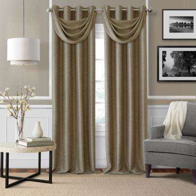 Brooke 18 in. W x 23 in. L Polyester Single Waterfall Swag Blackout Valance in Taupe