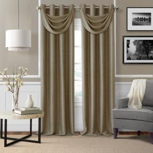 Brooke 18 inch W x 23 inch L Polyester Single Waterfall Swag Blackout Valance in Taupe by