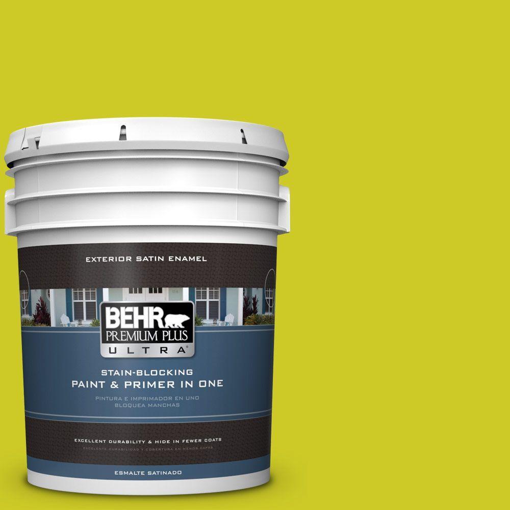BEHR Premium Plus Ultra 5-gal. #S-G-400 Lime Pop Satin Enamel Exterior Paint