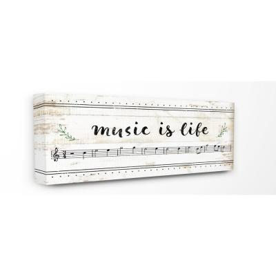 """10 in. x 24 in. """"Music Is Life Composition Paper with Black and White Notes"""" by Artist Jennifer Pugh Canvas Wall Art"""