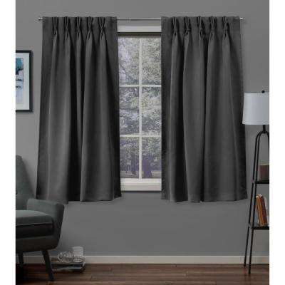 Sateen 30 in. W x 63 in. L Woven Blackout Pinch Pleat Top Curtain Panel in Charcoal (2 Panels)