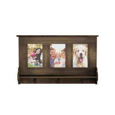 Decorative Wall Shelf with Photo Collage Frames and 3-Hanging Hooks