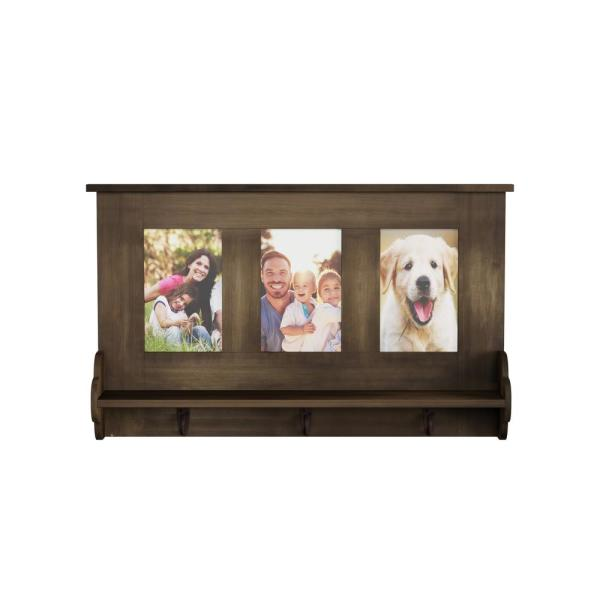 Lavish Home Decorative Wall Shelf with Photo Collage Frames and 3-Hanging