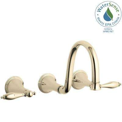Finial Traditional 8 in. Wall-Mount 2-Handle High-Arc Bathroom Faucet Trim in Vibrant French Gold