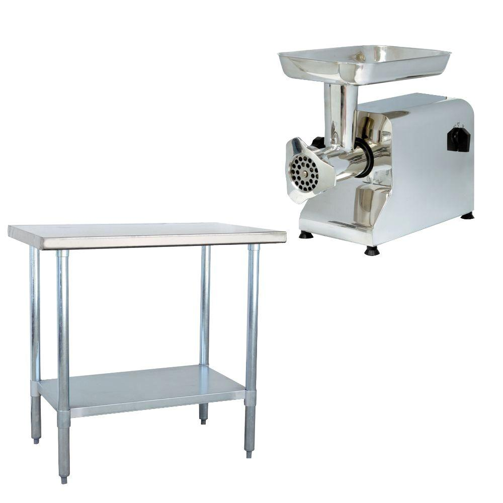 Sportsman Stainless Steel Kitchen Utility Table With Meat Grinder