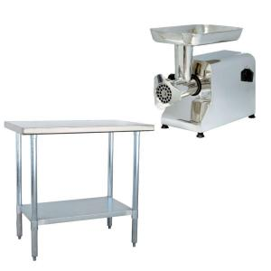 stainless steel kitchen utility table with meat grinder - Utility Table