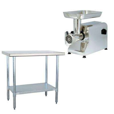 Stainless Steel Kitchen Utility Table with Meat Grinder