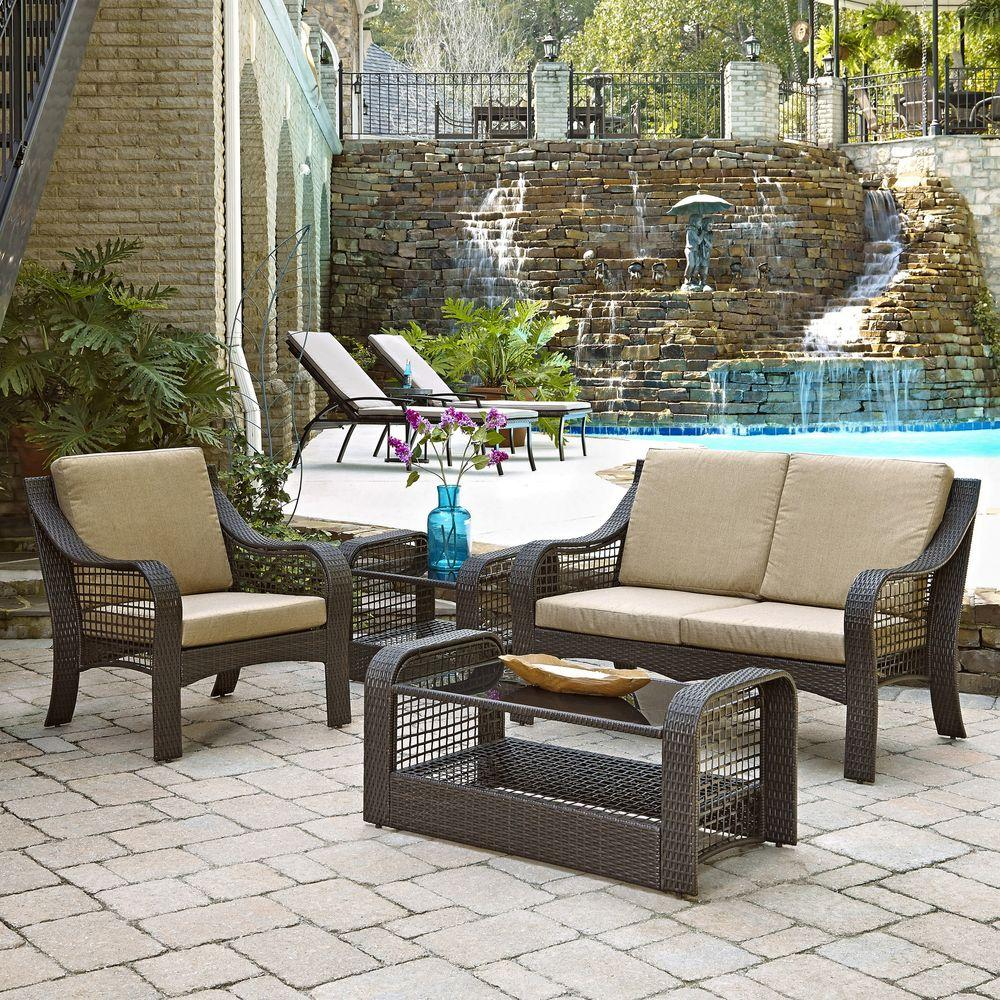 Lanai Breeze Deep Brown 4-Piece Woven Love Seat, Patio Accent Chair,