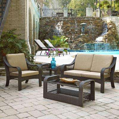 Lanai Breeze Deep Brown 4-Piece Woven Love Seat, Patio Accent Chair, End Table and Coffee Table Set with Yellow Cushions