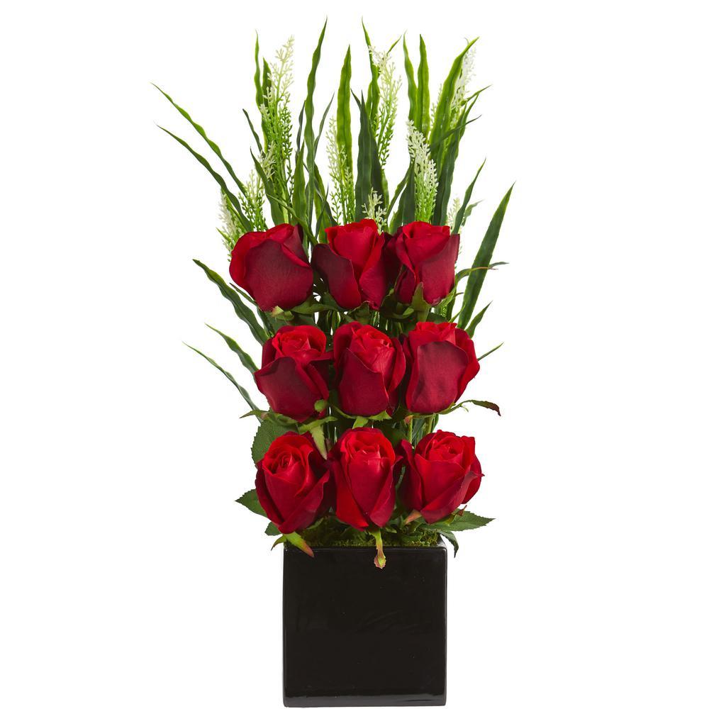 225 & Indoor Elegant Rose Artificial Arrangement in Black Vase