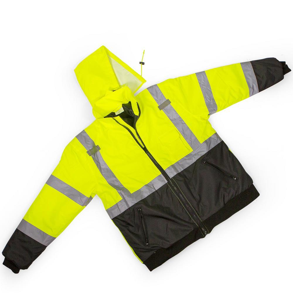 7b25a642a85fe Stark XL Yellow Mesh High Visibility Reflective Class 3 Safety Vest Bomber  Jacket