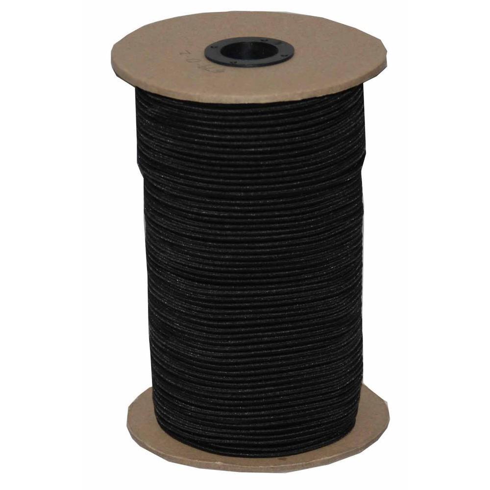 1/8 in. x 500 ft. Black Elastic Bungee Shock Cord