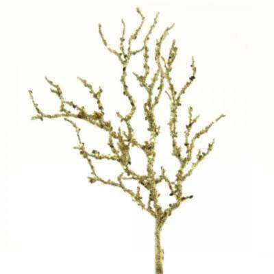 15 in. Christmas Decorative Glittered Coral Spray Stems with Sequence (2-Set)