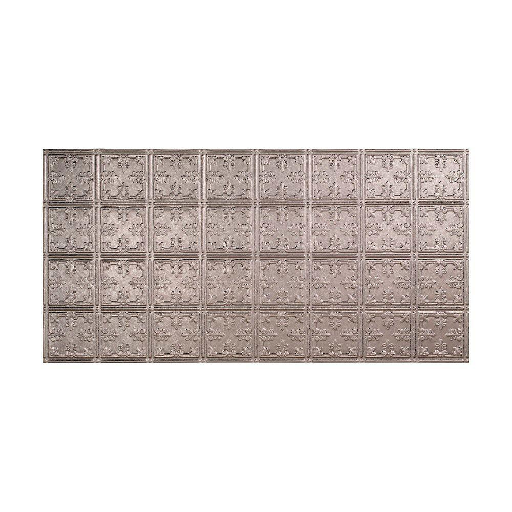 Fasade Traditional 10 - 2 ft. x 4 ft. Glue-up Ceiling Tile in Galvanized Steel