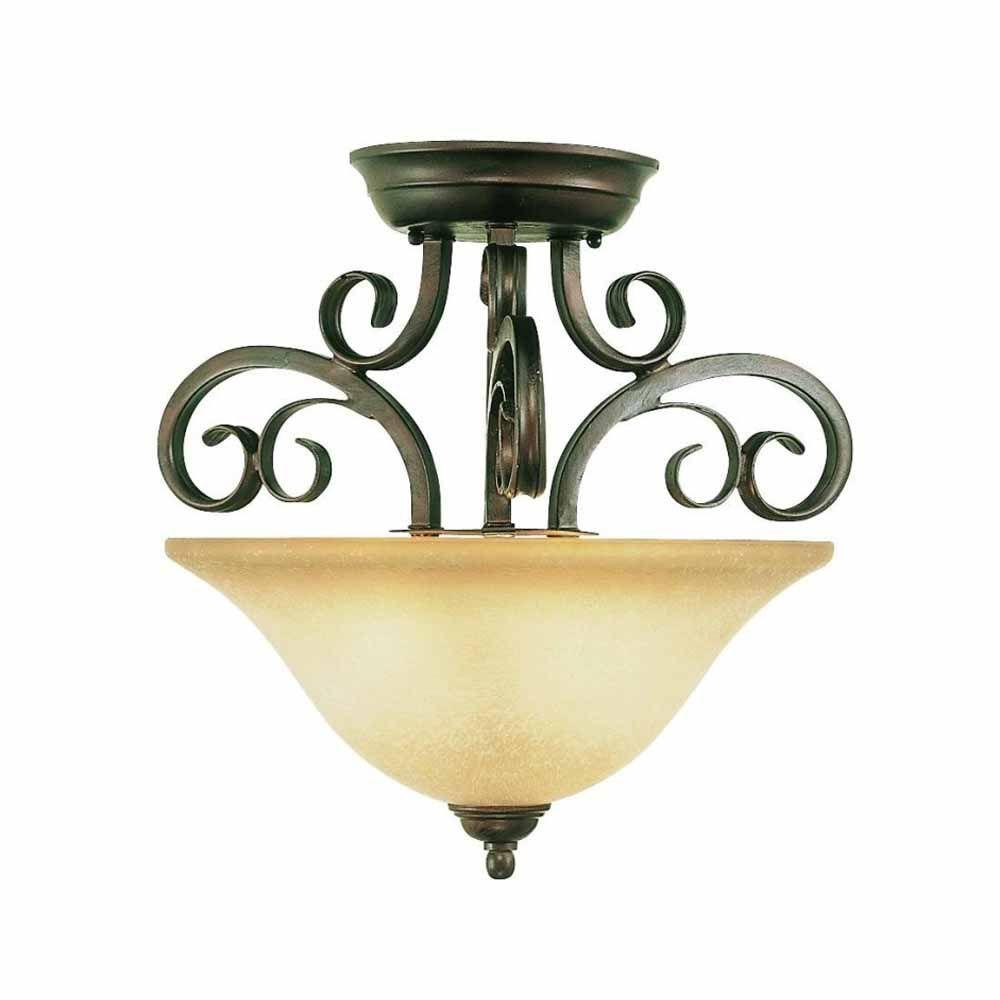 Bel Air Lighting Cabernet Collection 2-Light Antique Brown Rust Semi Flush Mount with Iridescent Champagne Shade