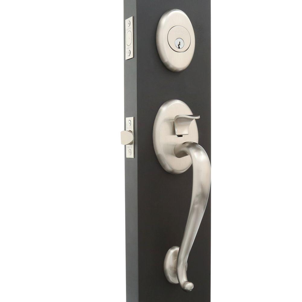 Baldwin Estate Collection Logan Single Cylinder Satin Nickel Door Handleset  With Knob