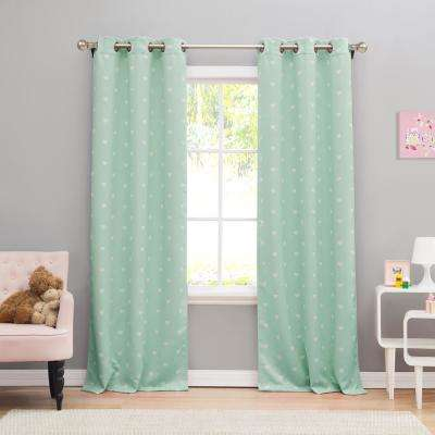 Kelly 38 in. x 84 in. L Polyester Blackout Curtain Panel in Seafoam (2-Pack)