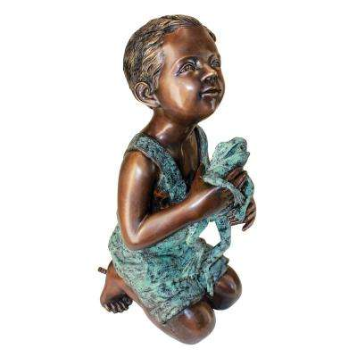 New Friend, Boy with Frog Cast Bronze Piped Spitting Statue
