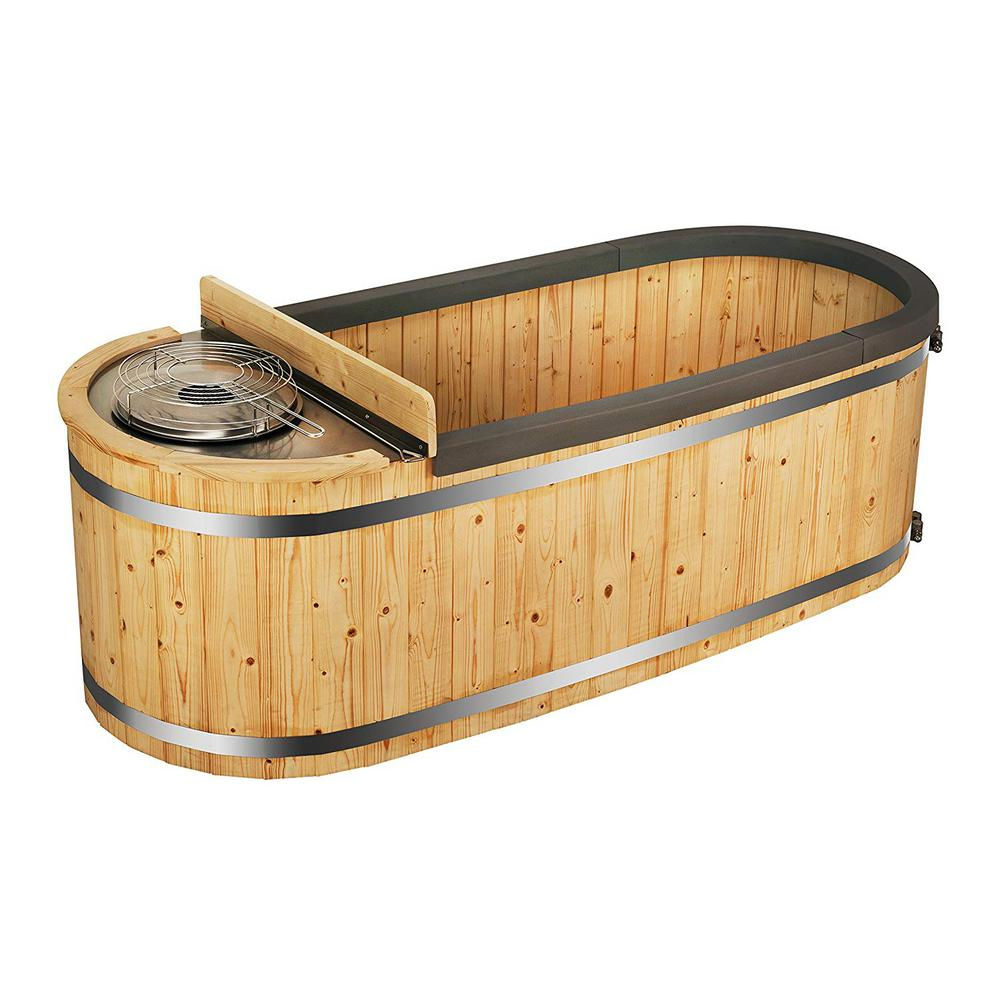 Aleko 2 Person Pine Hot Tub With Charcoal Stove Boiler Ht2pin Hd