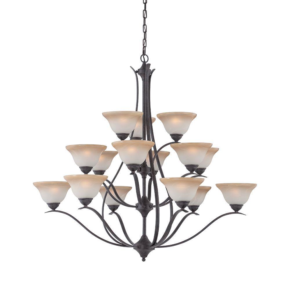 Prestige 15-Light Sable Bronze Hanging Chandelier